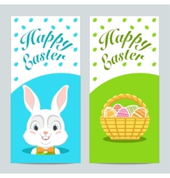 Brochures with happy easter with easter bunny vector