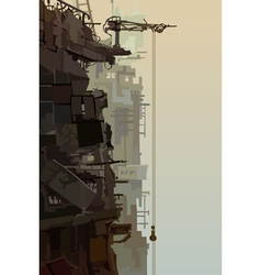 Destroyed buildings in the fog vector