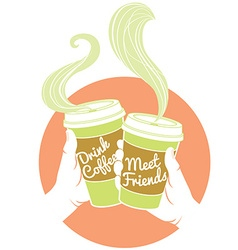 Hands holding dispossable coffee cups cardboard vector
