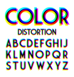 Color distortion alphabet vector