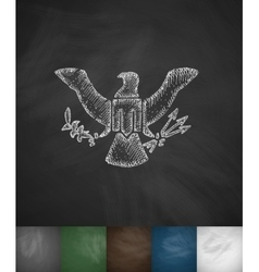 Coat of arms usa icon hand drawn vector
