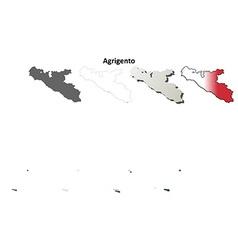 Agrigento blank detailed outline map set vector image vector image