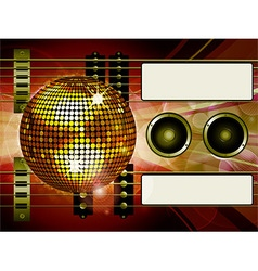 Air guitar and disco ball background with labels vector