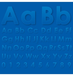 Alphabet pseudo 3d letters on a blue vector