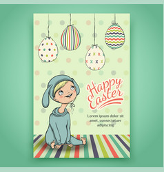 Beautiful easter card with baby in bunny costume vector