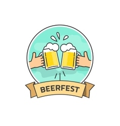 Beer festival label isolated on white vector image vector image