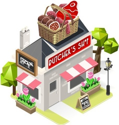Butcher Shop City Building 3D Isometric vector image