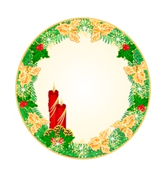 Button circle christmas spruce with red candle vector