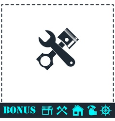 Car service icon flat vector