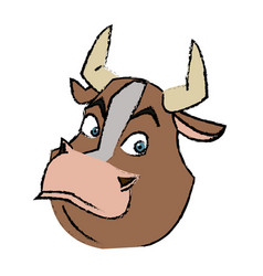 cartoon funny bull horn farm animal vector image