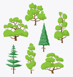 cartoon trees pack 1 vector image