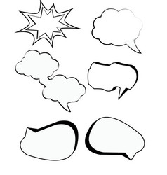 Comic bubbles cartoon text boxes set with cloud vector