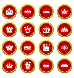 Crown icon red circle set vector
