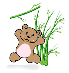 Cute bear in bamboo forrest 05 vector