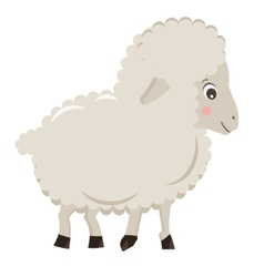 Cute cartoon little sheep isolated on white vector