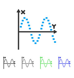 Dotted sine plot flat icon vector
