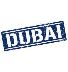 dubai blue square stamp vector image vector image