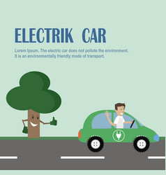 Electric car environmentally friendly transport vector