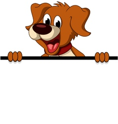 funny dog cartoon with blank sign vector image vector image