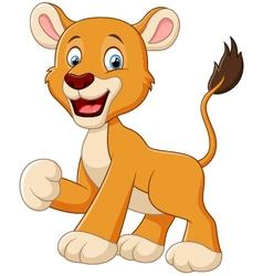 Funny lion cartoon waving vector image vector image