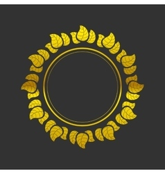 Golden frame with leaves vector