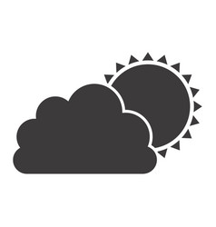 Gray silhouette of cloud with sun vector