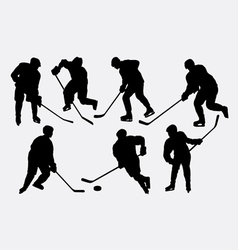 Hockey ice sport action silhouettes vector