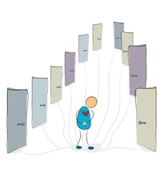 Man near many closed doors vector