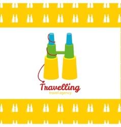 Modern bright creative travel company binoculars vector