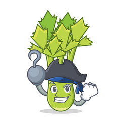 Pirate celery character cartoon style vector
