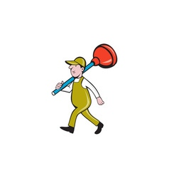 Plumber carrying plunger walking isolated cartoon vector