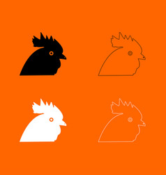 Rooster head black and white set icon vector