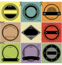 Set of nine blanc labels with retro styled design vector image vector image