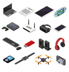 Technology devices color icons isometric view vector