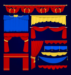 Theather scene red blue and yellow blind curtain vector