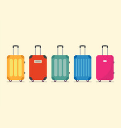 travel luggage set for vacation and journey vector image vector image