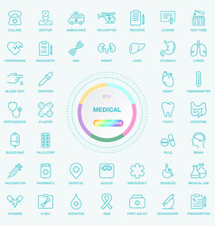 universal web and internet medical line icons set vector image vector image