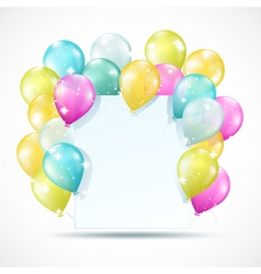 white card with balloons vector image