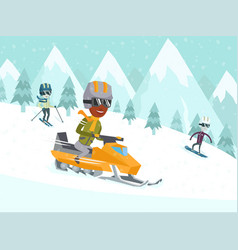 Young african-american man driving snowmobile vector
