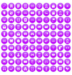 100 telephone icons set purple vector