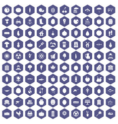 100 vitamins icons hexagon purple vector