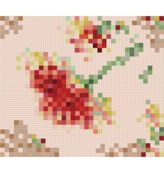 Vintage rose pixel art vector