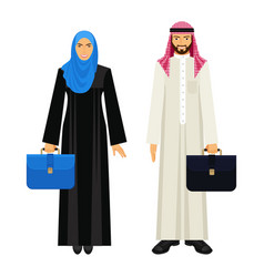 Arabic businessman and businesswoman with leather vector