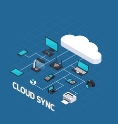Cloud computing isometric concept vector