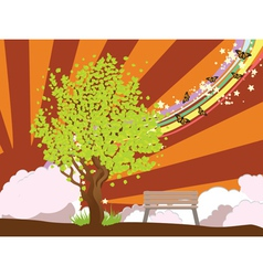 Summer with green tree2 vector