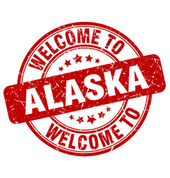Welcome to alaska red round vintage stamp vector
