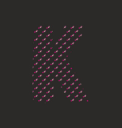 k dotted alphabet letter isolated on black backgro vector image