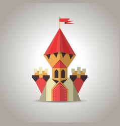 Cute origami castle from folded paper icon vector