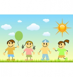 Children with nature vector