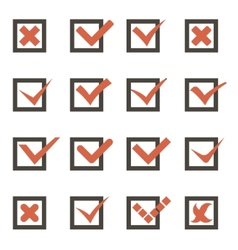 Check Marks Symbols Tick and Cross Icons Template vector image